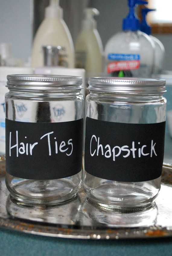 SO GONNA DO THIS! The picture shows the 2 things i loose all the time! Simply Chic Farmhouse Style Storage Jars with Chalk Writable Label for Organizing Bathroom, Vanity, Dresser, Bedroom