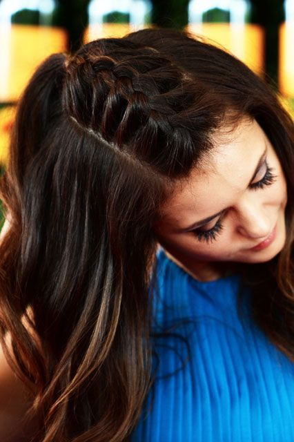 Nina Dobrev Braided Mohawk Tutorial | The star's modern French braid is incredibly easy to pull off. #refinery29 http://www.refinery29.com/2015/10/96070/nina-dobrev-unicorn-braid