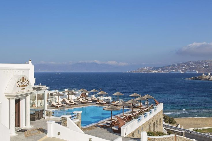 Grand Beach Hotel || Ideally set on the sandy beach of Megali Ammos, Grand Beach Mykonos is 400 metres from lively Mykonos Town.