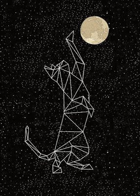 mike joos art: Cat Constellation Reaching For Moon