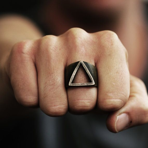 Mens Ring Gold Triangle Rings Oxidized Brass by carpediemjewellery