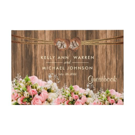 Beautiful Pink and White Roses on Wood - Guestbook by DesignsbyDonnaSiggy