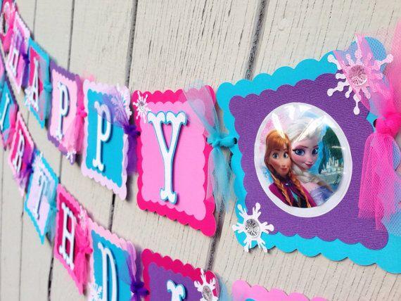 Disney Frozen birthday banner Elsa and Anna by CelebrationBanner, $50.00