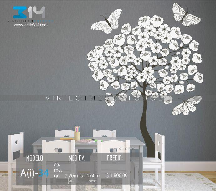 vinilos decorativos rboles infantiles sticker decorativo rbol mariposas y flores vinilo