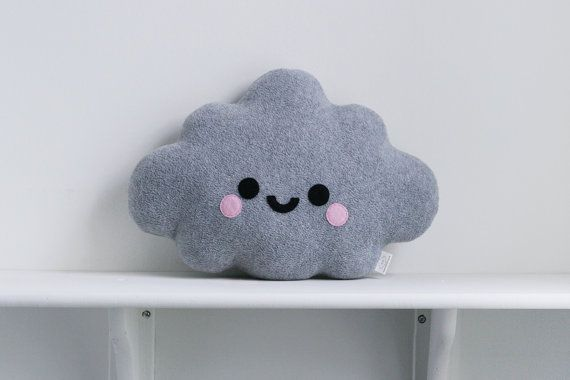 This one of a kind cute light grey cloud fleece pillow has an adorable happy smiley face with pink flush cheeks. Please choose which face you would