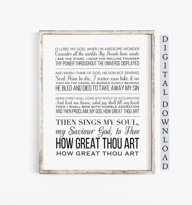 How great thou art hymn wall art hymn lyrics wall art