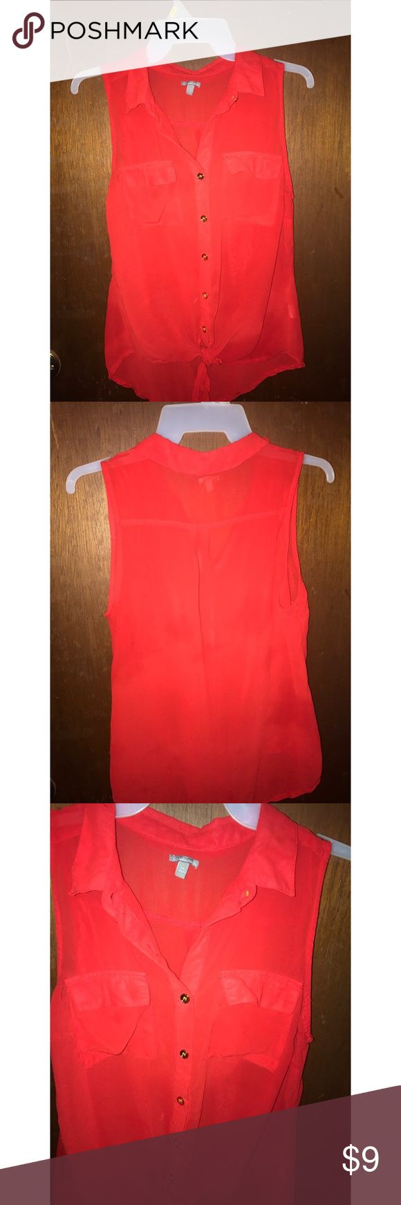 Red collar button down tank top Very classy red button down Charlotte Russe tank top. Gold buttons, two pockets on the front, and also ties at the bottom. Was given it from a friend but it doesn't fit me. No stains, rips, or tears, basically brand new! ❤️ Charlotte Russe Tops Tank Tops