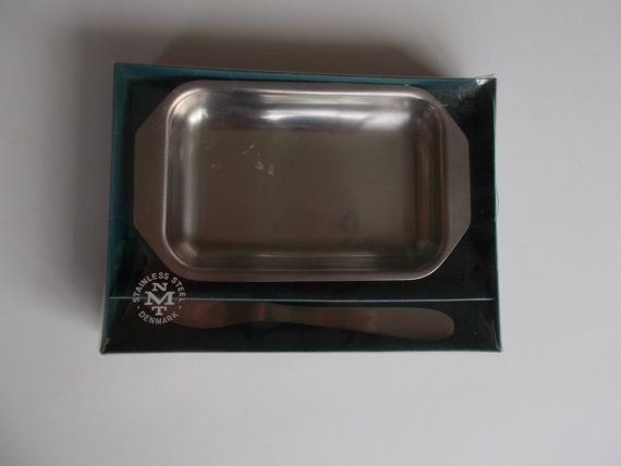 Made in Denmark stainless steel vintage butter dish and knife set NMT