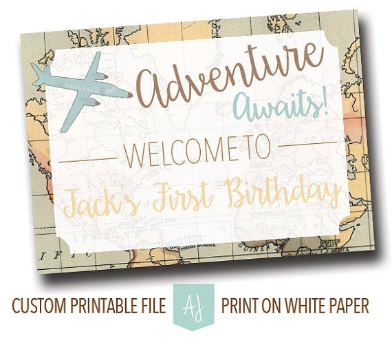 Child's Birthday Sign in Travel Theme-First Birthday Party Decoration- Printable File-Travel Themed Birthday