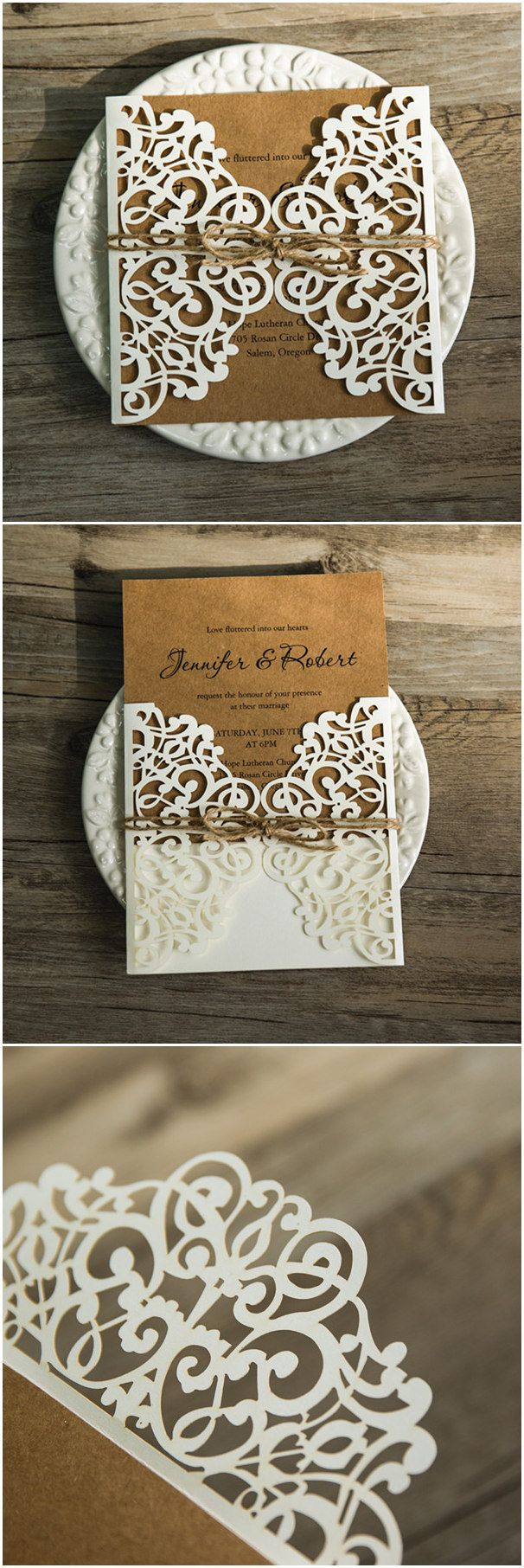 chic rustic burlap laser cut wedding invitations for country wedding ideas