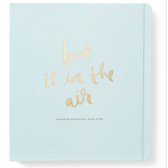 "Kate spade wedding planner !! SIZE 11 5/8""h x 10 5/8""w FEATURES gold 3 ring binder pocket with gold accents 48 planning pages style # 167830 DETAILS cover reads: love is in the air, planning our happily ever after imported kate spade Accessories"