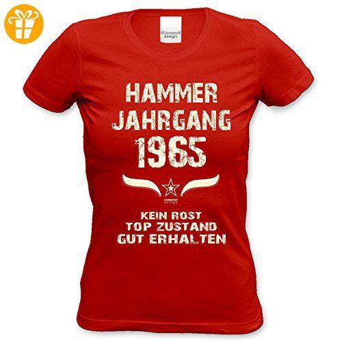 Damen Jahreszahl Motiv T-Shirt :-: Geburtstagsgeschenk Geschenkidee für Frauen zum 52. Geburtstag :-: Hammer Jahrgang 1965 :-: Girlie kurzarm Shirt mit Geburtstags-Aufdruck :-: Farbe: rot Gr: XL (*Partner-Link)