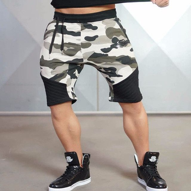 Mens Fitness Bodybuilding camouflage Brand durable Sweatpants gyms short pants for men Summer Fashion leisure Joggers Shorts