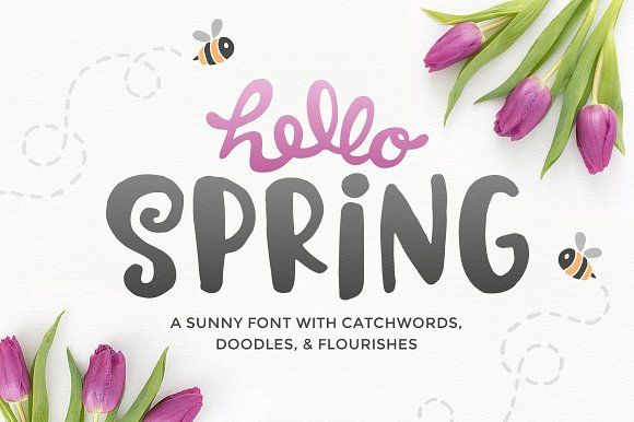 Hello Spring Font by Denise Chandler on @creativemarket