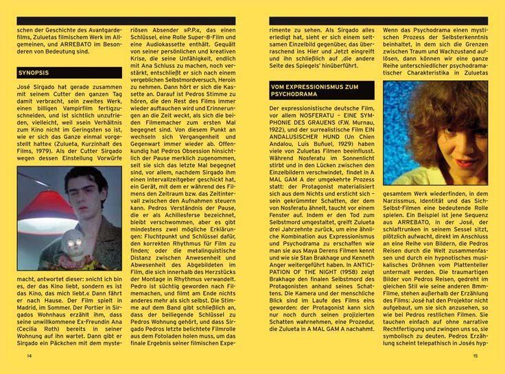 """Ein Ausschnitt aus dem Booklet zum Film """"Arrebato"""" von Iván Zulueta. Erschienen bei Bildstörung auf DVD."""