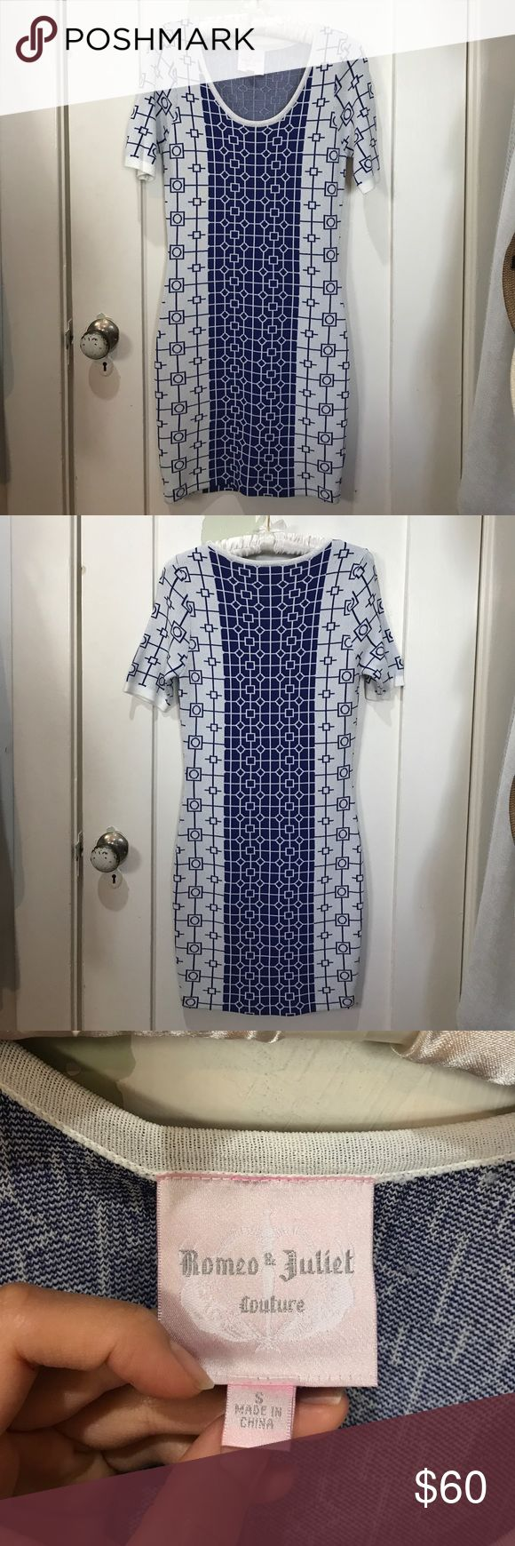 Romeo & Juliet Couture bodycon dress Blue and white bodycon dress. Size small but not super tight fitting. Never worn. NWOT. Romeo & Juliet Couture Dresses Mini