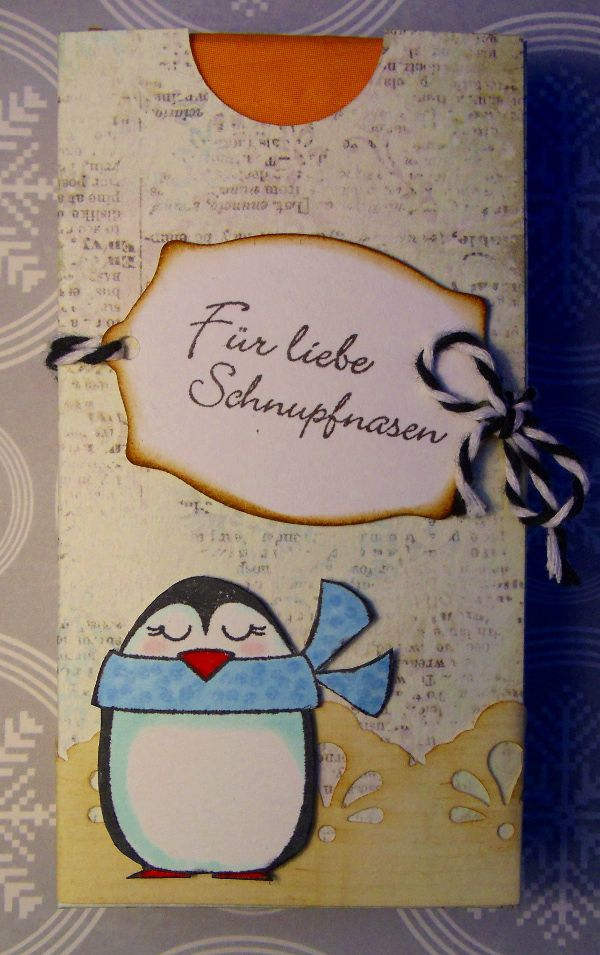 """Eine TaTü Box, der Spruch ist von PP-Stamps ... mit Pinguin ein kleines Mitbringsel für verschnupfte Nasen. Das Papier ist aus dem Motivblock """"Silent Night"""""""