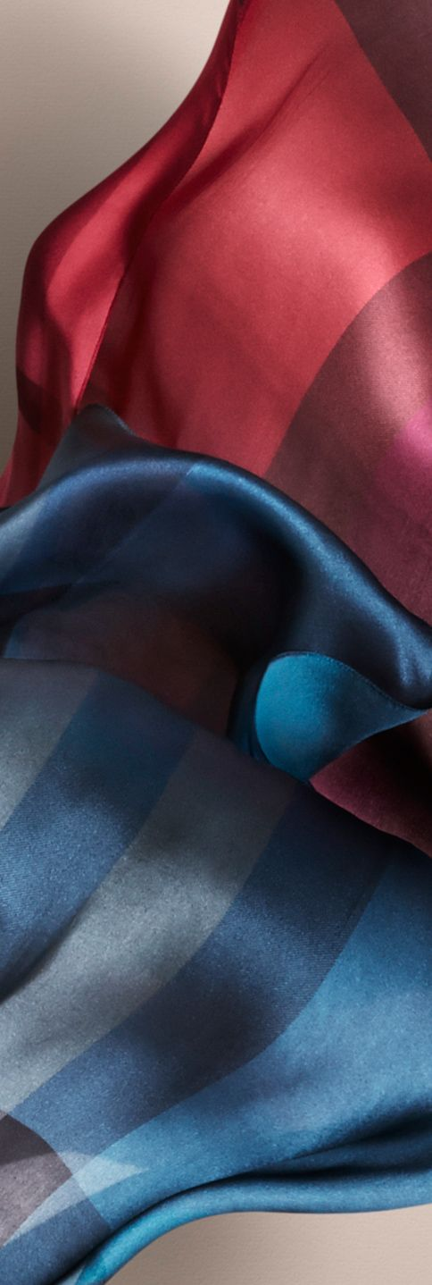 Silk satin scarves in check and deep pigmented hues - Burberry