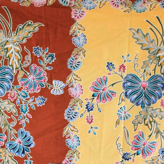 yellow  and brown print vintage flowers cotton by 18dec on Etsy, $20.00