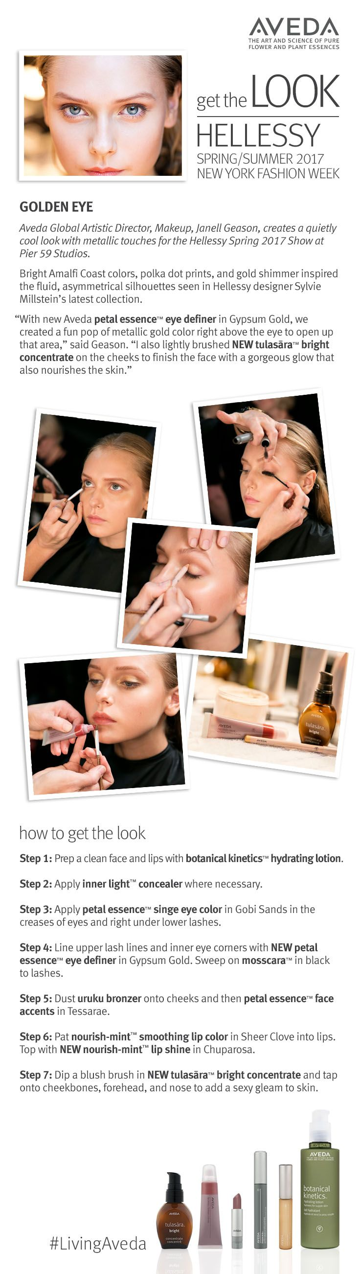 Get the glowing golden Aveda makeup look from Hellessy's NYFW show, created by Aveda Global Artistic Director for Makeup Janell Geason.