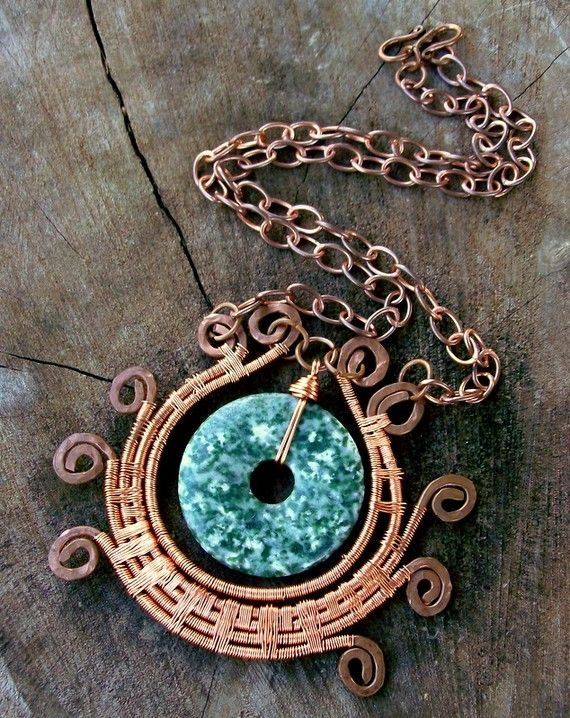 Green Lotus Necklace Copper Jewelry Asian Jewelry by stoneandbone, $95.00
