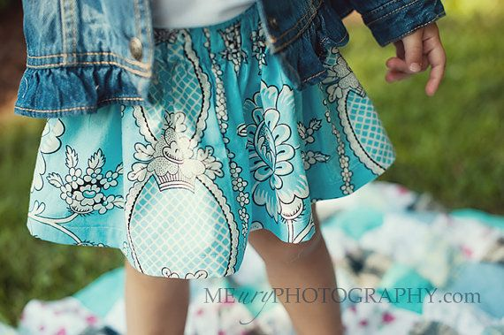 Buy 2 skirts get 1 FREE.... The blue delainey floral trellis twirl skirt...handmade childrens clothing by laken and lila