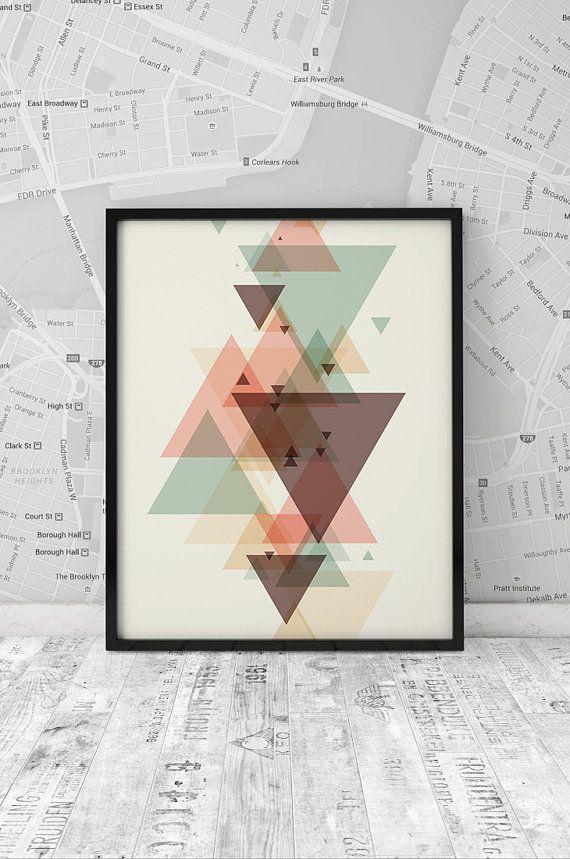 Minimalism poster, printable print, Geometrical printable, Triangle art, Wall art, Digital print, Scandinavian art poster, INSTANT DOWNLOAD.
