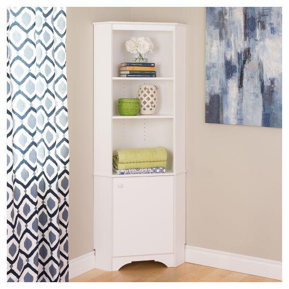 Elite Tall 1 Door Corner Storage Cabinet White Prepac In 2020 Corner Storage Corner Storage Cabinet White Storage Cabinets