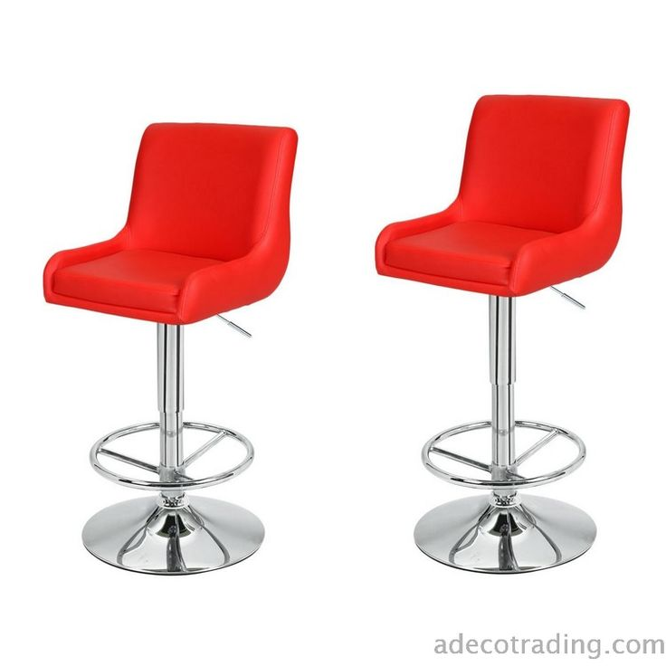 Adeco Height Adjustable Classic Counter Bar Stools, Set of 2, Red  #AdecoHomeGoods #BarStool #Kitchen