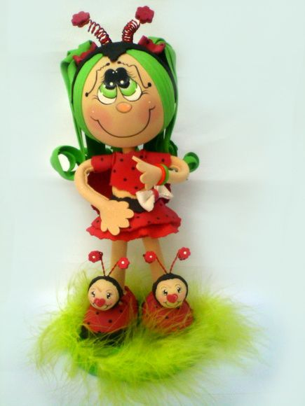 fun foam little ladybug girl is SO cute, and the photos are a really good reference....NOT in English