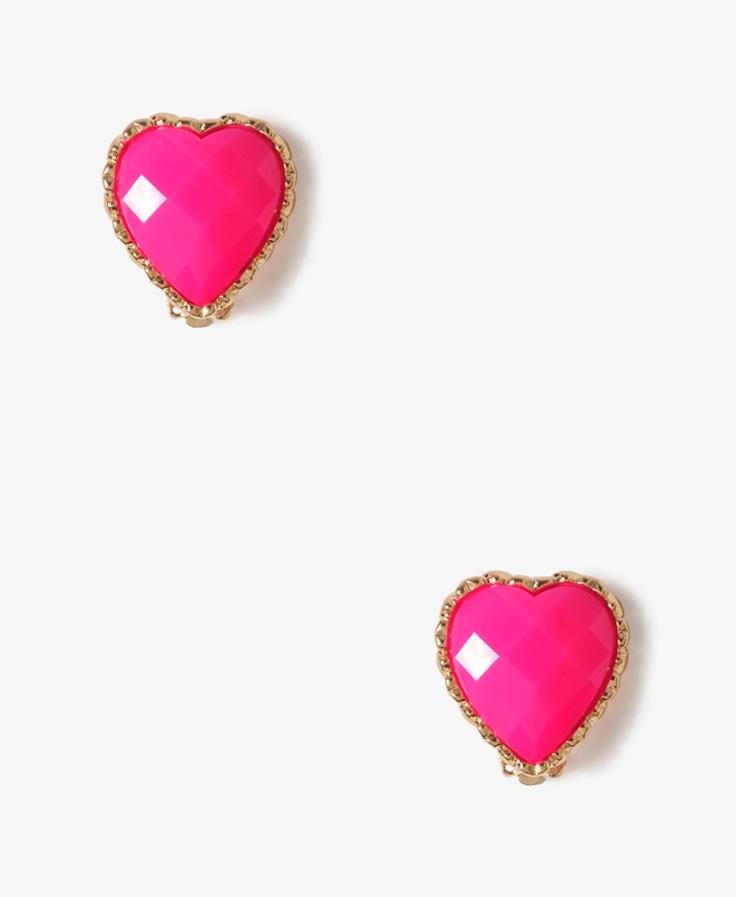 Faceted Heart Clip On Earrings | FOREVER21 - 1000035041