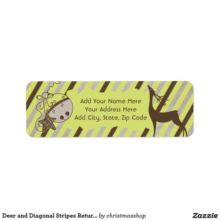 Deer and Diagonal Stripes Return Address Labels Address labels - free christmas return address labels template