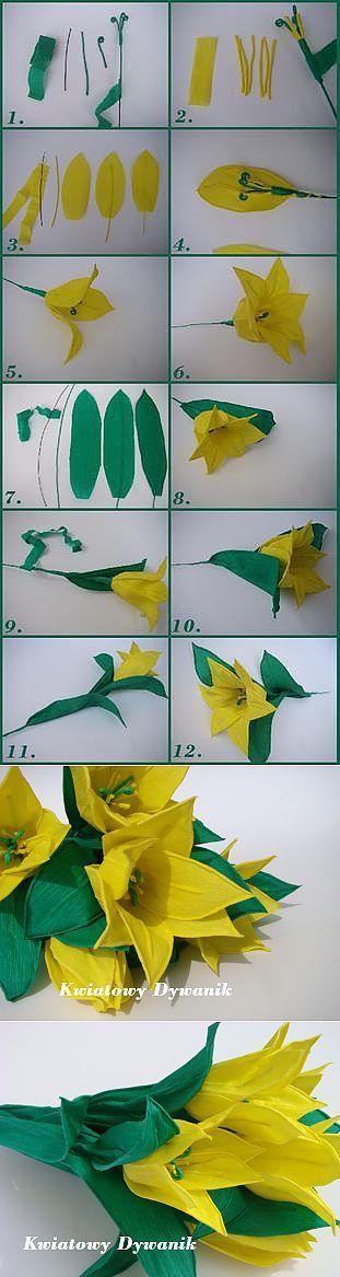 Желтые тюльпаны из креповой и гофрированной бумаги!