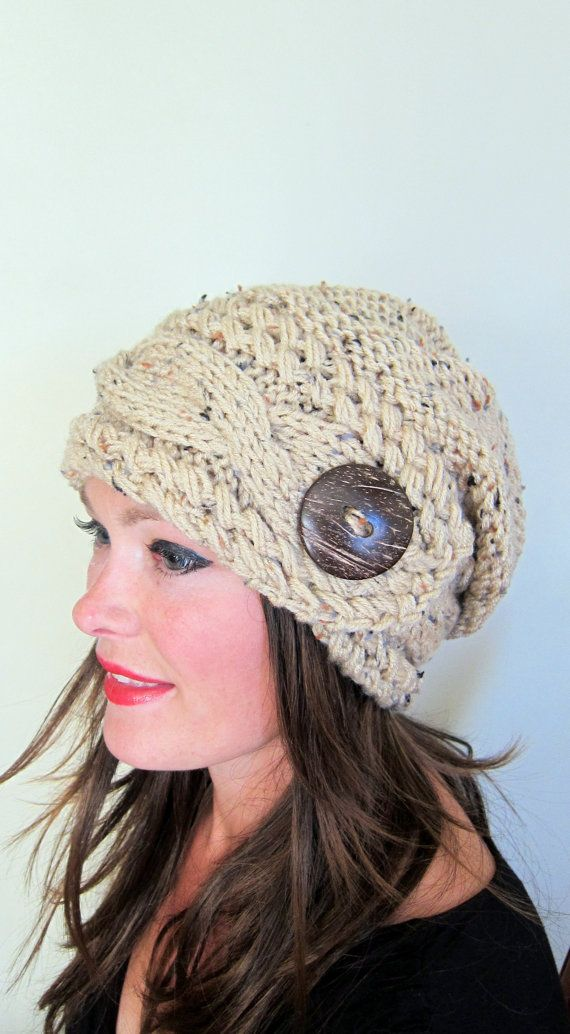 Women Hat Slouchy Hat Slouch Beanie Button Hat Hand Knit Winter Adult Hat CHOOSE COLOR Wheat White Chunky Gift on Etsy, $74.99
