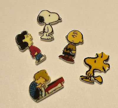 5-SNOOPY-WOODSTOCK-FLOATING-LOCKET-CHARMS-LUCY-SCHROEDER-PIANO-CHARLIE-BROWN