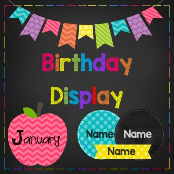 "This pack contains display tags for each month of the year and 3 different choices of editable name tags to go with these. There is also a poster to display above that says ""Our Birthdays"". I designed these with the idea that the name tags would be displayed under"