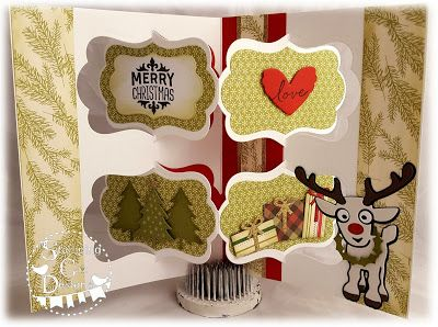 Caz Counsell using the Pop it Ups Katie Label Pivot Card, Rudy the Reindeer and Evergreen Pivot Card die sets by Karen Burniston for Elizabeth Craft Designs