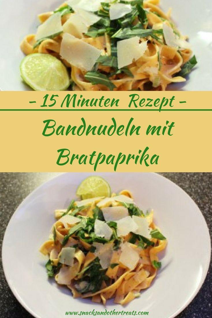 Vegetarisches Blitzrezept: Bandnudeln mit Paprika und Parmesansauce