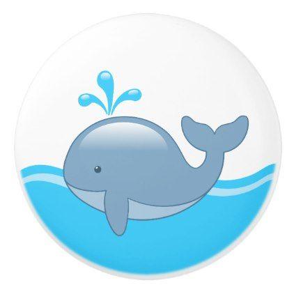 Cute Chubby Cartoon Whale in Ocean Ceramic Knob - ocean side nature waves freedom design