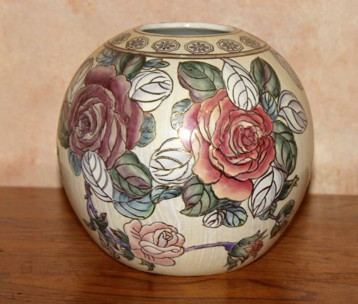 """Round Vase - Roses -  Standing 7 1/2"""": tall with a circumference of 22"""" around the middle and a 2 1/23"""" opening in the top...beautifully crafted *Originally priced at 29.95...NOW 50% off...Order # V903441...$15."""