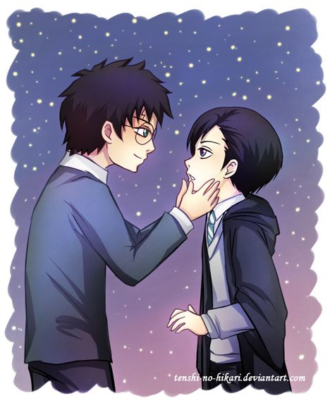 "This is a fanart for a fanfiction, in fact the best HP/TR fanfiction I ever read! The story's title is ""Wand Cores"", written by Lydia-kitten (on fanfiction.net) It's about a 25years-old Harry Potte..."
