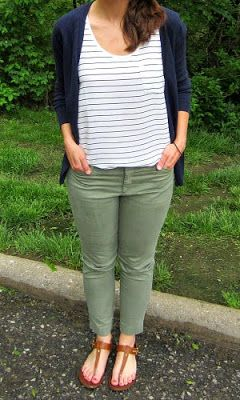 loft striped tank, old navy cardi, old navy olive pixie chinos