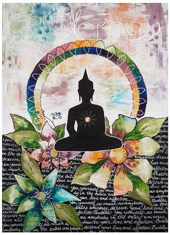 Giclée/reproduction Bouddha 5 par MarikaLemayArtiste sur Etsy