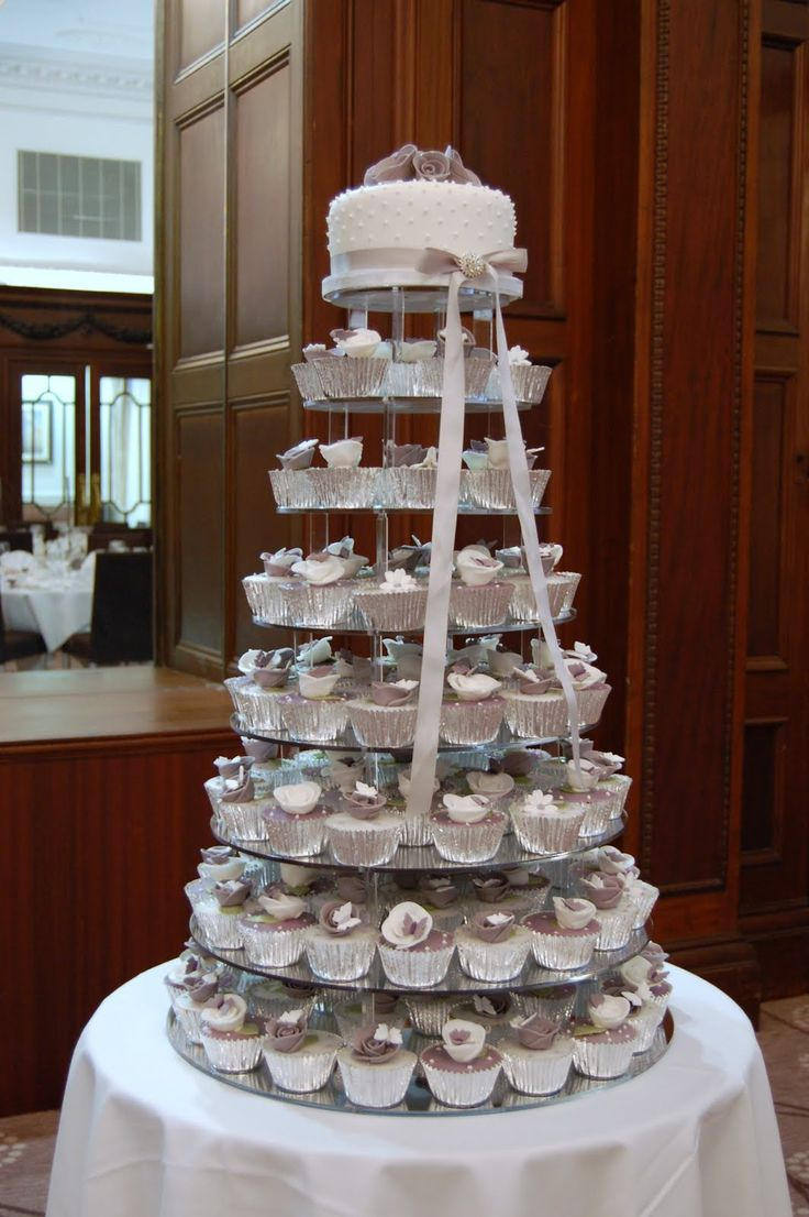 Uncategorized cupcake stands for weddings cheap - Iced Victorian Lilac Cupcake Wedding Cake Rose Cupcake Wedding Cake 1064x1600
