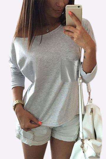 Cinzento um peito de ombro pega o t-shirt