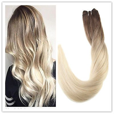 Details about Full Shine Human Hair Weft Straight Blonde Ombre 100% Human Hair Extensions 100g