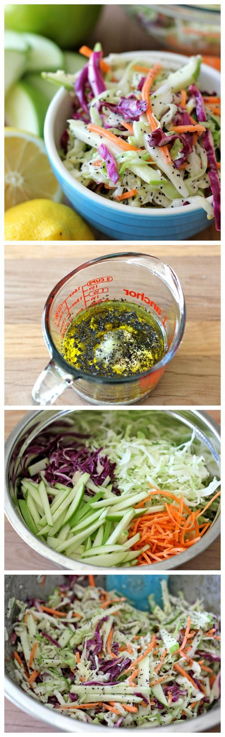 Apple and Poppy Seed Coleslaw, can be vegan by removing the mayo  using vegenaise or cashew butter.