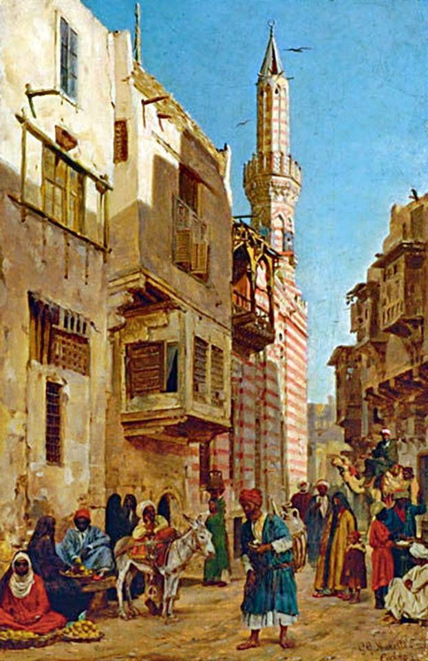 CAIRO STREET MARKET By GGMoretti ( Italian 19th20th Century) Oil on canvas; 32.4 x 21 cm