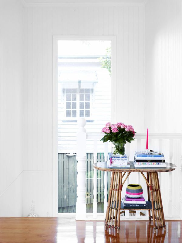 The Brisbane home ofHelen and Chris Bayley and Family. Black & Spirocushions and window seat, Black and Spiro pendant light. Bentwood chairs sourced from Ebay and painted. Photo – Toby Scott, production – Lucy Feagins / The Design Files. The Brisbane home ofHelen and Chris Bayley and Family. Pink couch from Black & Spiro, Richard …