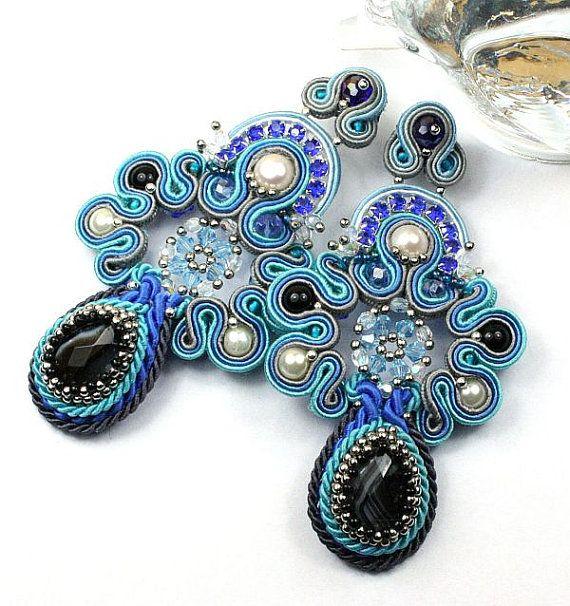 Earrings Blue Boho braid souatche barocco